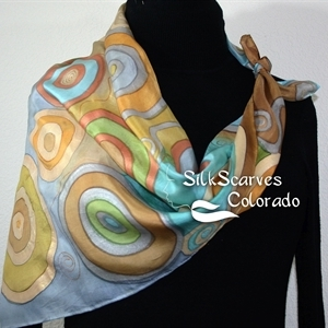 Hand Painted Silk Scarf. Olive, Terracotta, Grey Handpaited Silk Scarf CIRCLES OF LIFE. Silk Scarves Colorado. Extra-Large 35x35 Square. Birthday Gift