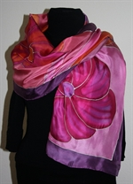Purple Silk Shawl with Big Leaves and Flowers
