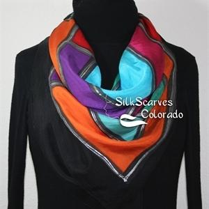 Hand Painted Silk Scarf. Red, Blue, Purple, Orange Handpainted Silk Shawl PASSION MANDALA. Silk Scarves Colorado. Extra-Large 35x35 square. Birthday,