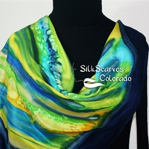 Hand Painted Silk Scarf. Blue, Yellow, Green Handpainted Silk Shawl AFTER THE RAIN. Silk Scarves Colorado. Extra-Large 35x35 square.