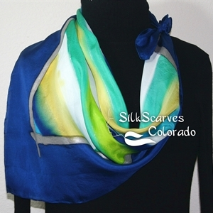Blue, Lime, White Hand Painted Silk Shawl HAWAIIAN BREEZE. Extra-Large 35x35 square. Silk Scarves Colorado. Handmade Silk Scarf Birthday Gift.