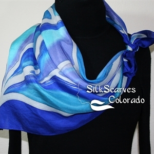 Blue, Turquoise, Periwinkle Hand Painted Silk Shawl BLUE SOULS. Extra-Large 35x35 square. Silk Scarves Colorado. Handmade Silk Scarf Bridesmaid Gift.