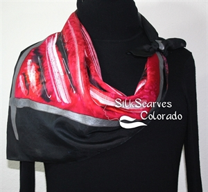 Red, Black Hand Painted Silk Shawl RED SKIES. Extra-Large 35x35 square. Silk Scarves Colorado. Handmade Silk Scarf. Bridesmaid Gift.