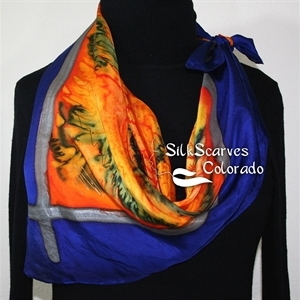 Orange, Blue Hand Painted Silk Shawl TIGRESS GIRL. Extra-Large 35x35 Square. Silk Scarves Colorado. Handmade Silk Scarf. Bridesmaid Gift.