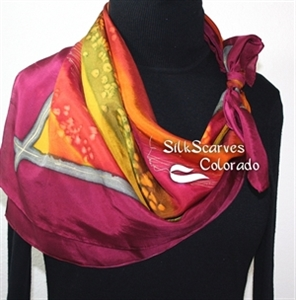 Burgundy, Orange, Antique Green Hand Painted Silk Shawl SUMMER BREEZE. Extra-Large 35x35 Square. Silk Scarves Colorado. Handmade Silk Scarf. Holidays