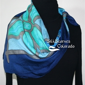 Hand Painted Silk Scarf. Turquoise, Teal, Blue Handmade Silk Shawl RAINY FLOWERS. Extra-Large 35x35 square. Silk Scarves Colorado. Birthday Gift.