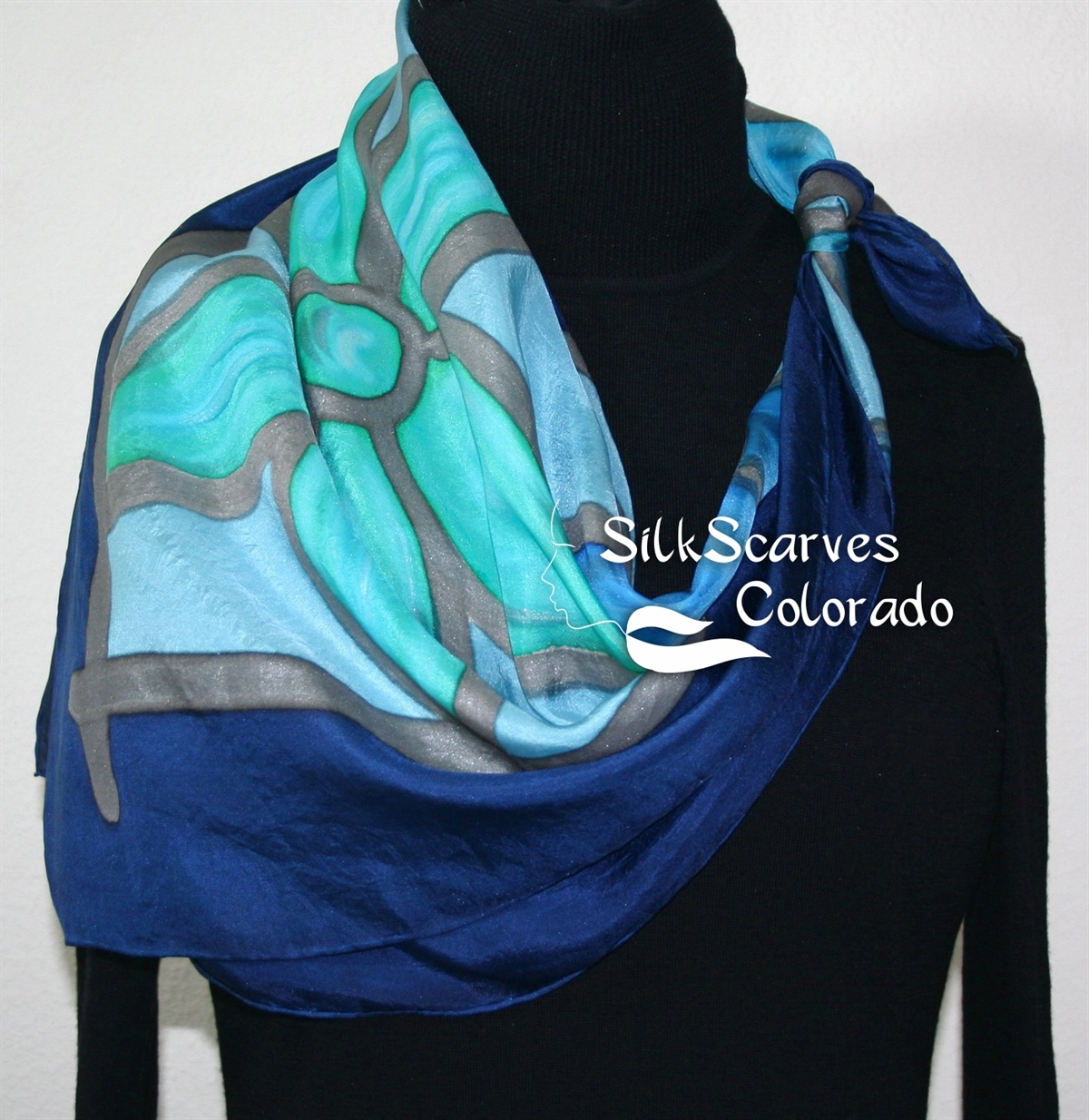 Silk Scarves Online Shop Hand Painted Silk Scarf Turquoise Teal