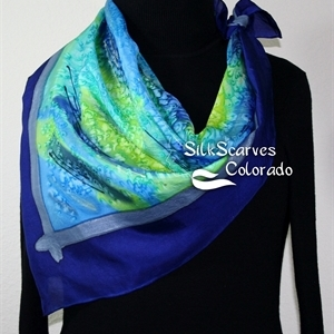 Blue, Lime, Teal Handmade Scarf MORNING MARSHES. Extra-Large Square 35x35. Silk Scarves Colorado. Birthday Gift.