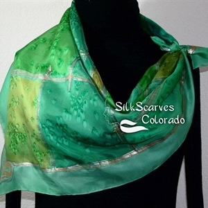 Green, Olive, Teal Hand Painted Silk Scarf GOLDEN MEADOWS-2. Extra-Large Square 35x35. Silk Scarves Colorado. Birthday Gift.