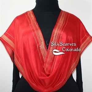 Red, Gold Handpainted Silk Shawl LOVE STORY. Size 11x60.  Silk Scarves Colorado. Birthday Gift.