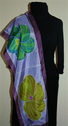 Violet Silk Scarf with Big Flowers in Green and Purple