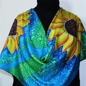 Green, Teal, Orange Hand Painted Silk Scarf SILK SUNFLOWERS. Size 11x60. Silk Scarves Colorado. Birthday Gift.