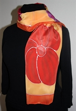 Yellow Silk Scarf with Big Flowers in Orange, Red and Purple