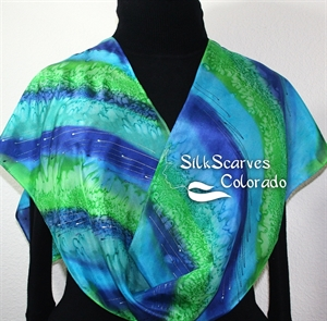 Green, Turquoise Hand Painted Silk Scarf BLUE GARDEN. Size 11x60. Silk Scarves Colorado. Mother Gift.