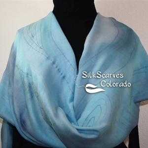 Steel Blue, Grey Silk-Wool Shawl ASPEN WINDS. Extra-Large Shawl 36x80, Warm & Soft. Silk Scarves Colorado. Birthday Gift. Anniversary Gift.