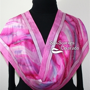 Pink, Fuchsia, Purple Handpainted Silk Scarf DREAM CLOUD. Size 11x60. Silk Scarves Colorado. Birthday Gift