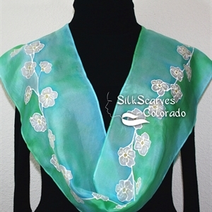 Teal, Turquoise, White Hand Painted Silk Scarf EARLY SPRING. Size 14x72. Silk Scarves Colorado. Bridesmaid Gift.
