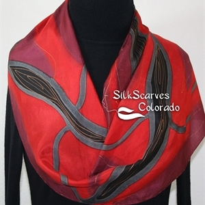 Red, Burgundy, Black Hand Painted Silk Scarf MERLOT KISS. Size 14x72. Silk Scarves Colorado. Bridesmaid Gift.