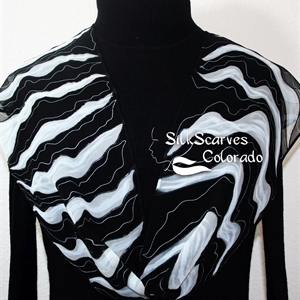 Black, White Hand Painted Chiffon Silk Scarf NIGHT WAVES. Size 8x54. Silk Scarves Colorado. Birthday Gift. Silk Art.