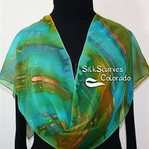 "Green, Teal, Terracotta Hand Painted Silk Shawl. Handmade Chiffon Silk Scarf ENCHANTED WOODS. Size 11x60"". Silk Scarves Colorado. Elegant Silk Gift"