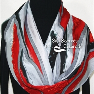 Black, Grey, Red Hand Painted Silk Scarf CRIMSON MOUNTAINS. Size 14x72. Silk Scarves Colorado. Birthday Gift