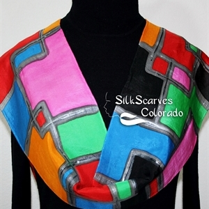 "Red, Green, Blue Hand Painted Silk Scarf Silk Scarf FEEL SO HAPPY. Size 11x60"". Silk Scarves Colorado. Elegant Silk Gift"
