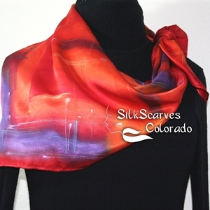 Orange, Red, Purple Hand Painted Silk Satin Shawl BURNING SKIES-2 by Silk Scarves Colorado. Extra-Large 35x35. Elegant Silk Gift