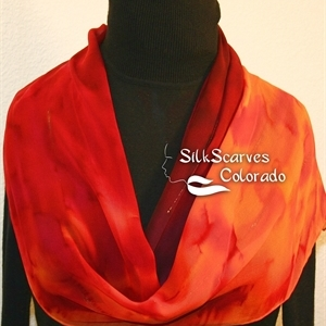 Red, Orange, Burgundy Hand Painted Silk Scarf RED FLAMES. Size 11x60. Silk Scarves Colorado. Elegant Silk Gift