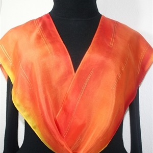 Orange, Poppy Red, Yellow Hand Painted Silk Scarf ORANGE MOOD. Size 8x54. Silk Scarves Colorado. Birthday Gift.