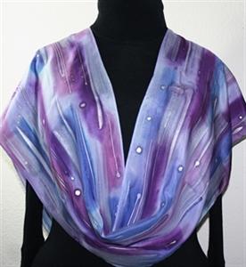 Purple, Violet, Lavender Hand Painted Silk Scarf PURPLE RAINDROPS. Size 11x60. Silk Scarves Colorado. Birthday Gift.