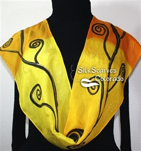 Yellow, Golden Terracotta Hand Painted Silk Scarf HONEY TREE. Size 8x54. Silk Scarves Colorado. Birthday Gift.