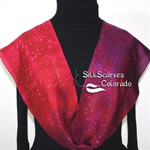 Burgundy, Merlot Red, Purple Hand Painted Silk Scarf BURGUNDY VINEYARDS. Size 8x54. Silk Scarves Colorado. Birthday Gift.