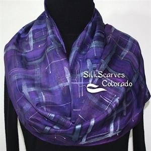 Purple, Amethyst, Pewter Hand Painted Silk Scarf AMETHYST TARTAN. Size 11x60. Silk Scarves Colorado. Elegant Silk Gift.