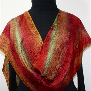 Copper Terracotta, Brown, Burgundy Hand Painted Silk Scarf AUTUMN COLORS. Size 14x72. Silk Scarves Colorado. Elegant Silk Gift