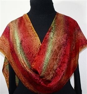 Copper Terracotta, Brown, Burgundy Hand Painted Silk Scarf AUTUMN COLORS. Size 11x60. Silk Scarves Colorado. Elegant Silk Gift