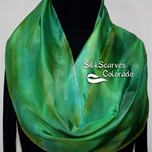 Green, Emerald, Olive Hand Painted Silk Scarf GREEN PIECE. Size 11x60. Silk Scarves Colorado. Elegant Silk Gift.