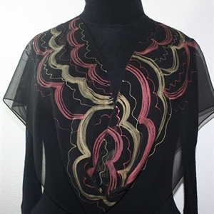 Black, Copper, Gold Hand Painted Silk Scarf COPPER FLOWERS. Size 11x60. Silk Scarves Colorado. Elegant Silk Gift.