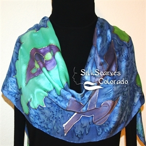 Blue, Green, Periwinkle Hand Painted Silk Scarf OCEAN FAIRY. Size 11x60. Silk Scarves Colorado. Elegant Silk Gift