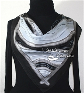 Black, White, Grey Hand Painted Silk Bandanna Scarf ALASKA NIGHTS. Size 22x22 square. Silk Scarves Colorado. Elegant Silk Gift.