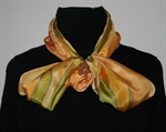 Light Yellow Silk Scarf with Big Stylized Flowers and Leaves