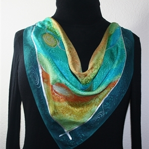Teal, Terracotta, Olive Hand Painted Silk Bandanna Scarf MOUNTAIN DAY. Size 22x22 square. Silk Scarves Colorado. Elegant Silk Gift.