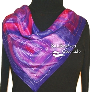 Purple, Violet Hand Painted Silk Bandanna Scarf PURPLE CORALS. Size 22x22 square. Silk Scarves Colorado. Elegant Silk Gift.
