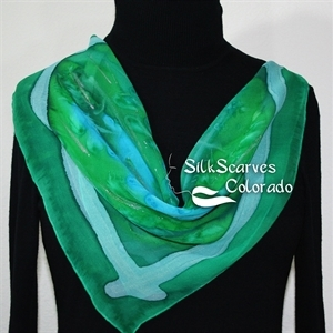 Green, Teal, Turquoise Hand Painted Silk Bandanna Scarf COLORADO FIELDS. Size 22x22 square. Silk Scarves Colorado. Elegant Silk Gift.