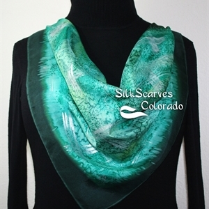 Green, Sage Green, Teal, Olive Hand Painted Silk Bandanna Scarf GREEN FIELDS. Size 22x22 square. Silk Scarves Colorado. Elegant Silk Gift.