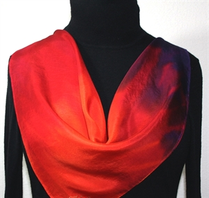 Red, Cranberry, Purple Hand Painted Silk Bandanna Scarf MIAMI HEAT. Size 22x22 square. Silk Scarves Colorado. Elegant Silk Gift.