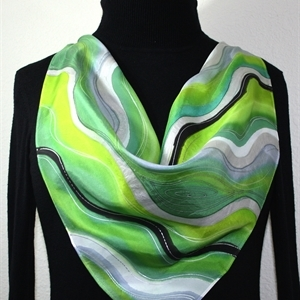 "Green, Lime, Grey Hand Painted Silk Square Scarf GREEN WAVES. Size 30x30"" square. Silk Scarves Colorado. Elegant Silk Gift."