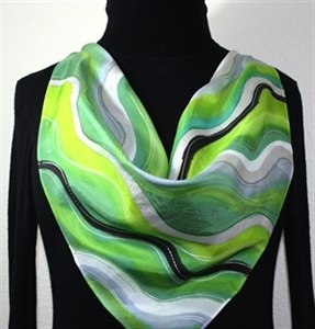 """Green, Lime, Grey Hand Painted Silk Square Scarf GREEN WAVES. Size 30x30"""" square. Silk Scarves Colorado. Elegant Silk Gift."""