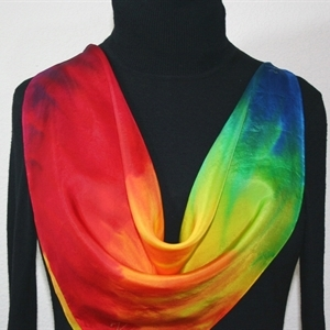 "Red, Yellow, Blue, Green Hand Painted Silk Scarf SUMMER FLAMES. Size 30x30"" square. Silk Scarves Colorado. Elegant Silk Gift."