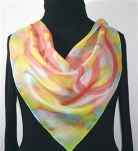 Yellow, Coral, Pink Hand Painted Silk Bandanna Scarf PASTEL EMBRACE. Size 22x22 square. Silk Scarves Colorado. Elegant Silk Gift.