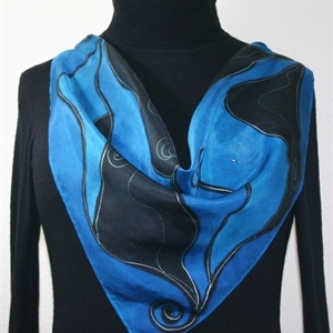 Blue, Black Hand Painted Silk Bandanna Scarf NIGHT WINDS. Size Large 30x30 square. Silk Scarves Colorado. Elegant Silk Gift.